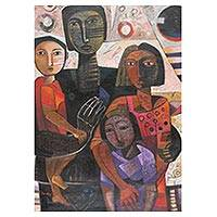 'Family' (2018) - Signed Family-Themed Cubist Painting from Peru