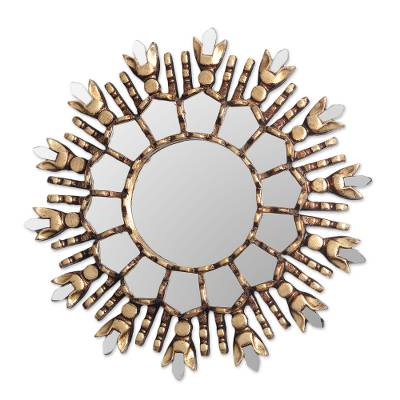 Artisan Crafted Bronze Gilded Cedar Wood Wall Mirror