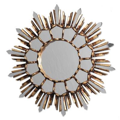 Handcrafted Bronze Gilded Cedar Wood Wall Mirror from Peru