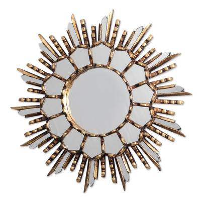 Bronze Gilded Cedar Wood Wall Mirror Crafted in Peru