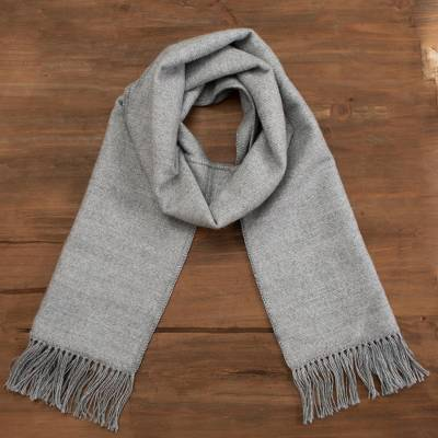 Alpaca blend scarf, 'Winter Chic in Smoke' - Artisan Crafted Alpaca Blend Scarf in Smoke from Peru