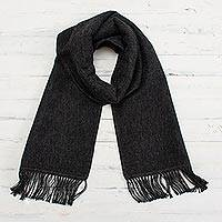 Alpaca blend scarf, 'Winter Chic in Graphite' - Artisan Crafted Alpaca Blend Scarf in Graphite from Peru