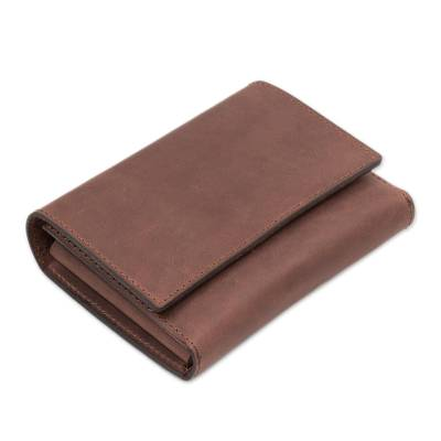Handmade Brown Leather Passport Wallet from Peru