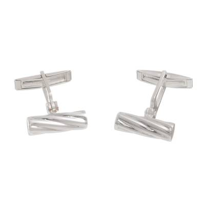 Twist Pattern Sterling Silver Cufflinks from Peru