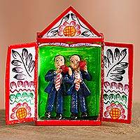 Retablo, 'Expression of Love' - Hand-Painted Marriage-Themed Retablo from Peru
