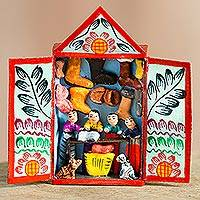 Retablo, 'Andean Shoes' - Hand-Painted Retablo of Shoe Vendors from Peru