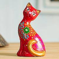 Featured review for Ceramic figurine, Sweet Cat in Red