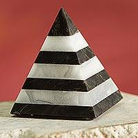 Huamanga stone figurine, 'Striped Pyramid' - Striped Huamanga Stone Pyramid Figurine from Peru