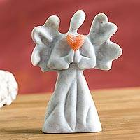 Alabaster sculpture, 'Heartfelt Angel in Grey' - Hand-Carved Alabaster Angel Sculpture in Grey