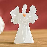 Huamanga stone figurine, 'Sweet Angelic Love' - Hand-Carved Huamanga Stone Angel Figurine from Peru