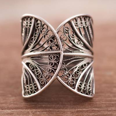 Sterling silver filigree band ring, Dark Windy Currents