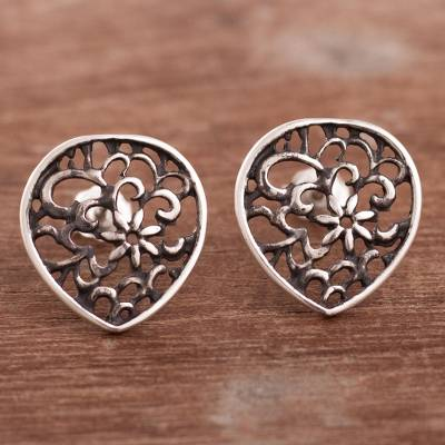 Sterling silver button earrings, 'Dark Silver Flowers' - Dark Floral Sterling Silver Button Earrings from Peru