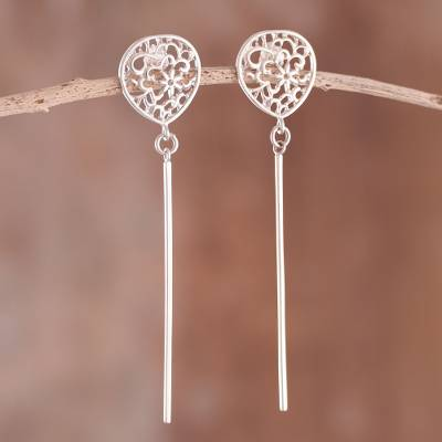 Sterling silver dangle earrings, 'Silver Flowers' - Floral Long Sterling Silver Dangle Earrings from Peru