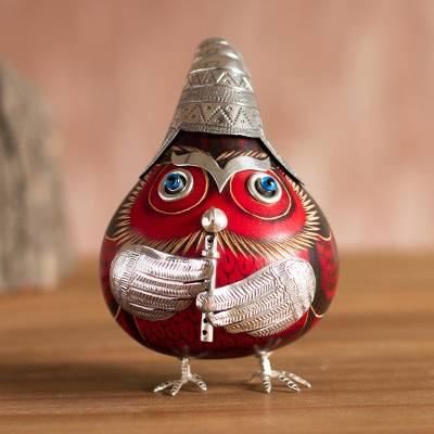 Sterling silver and gourd figurine, 'Owl Musician in Red' - Sterling Silver and Gourd Owl Musician Figurine in Red
