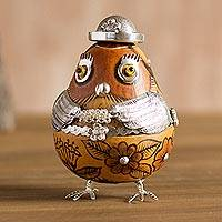 Sterling silver and gourd figurine, 'Floral Owl' - Sterling Silver and Gourd Figurine of a Floral Owl
