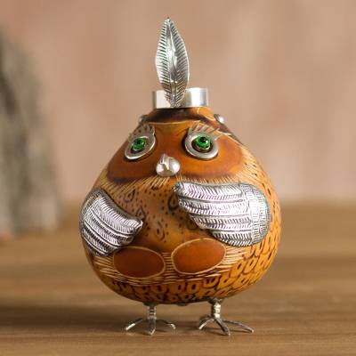 Sterling silver and gourd figurine, 'Shipibo-Conibo' - Cultural Owl Figurine in Sterling Silver and Gourd