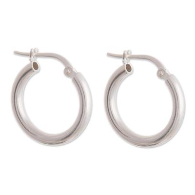 Sandblasted Sterling Silver Hoop Earrings from Peru