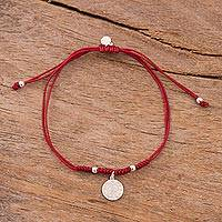 Sterling silver charm bracelet, 'Peruvian Shield in Dark Red' - Sterling Peruvian Coat of Arms Charm Bracelet in Dark Red