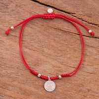 Sterling silver charm bracelet, 'Peruvian Shield in Red' - Sterling Peruvian Coat of Arms Charm Bracelet in Red