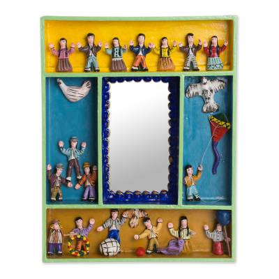 Hand-Painted Wood Retablo Wall Mirror Crafted in Peru