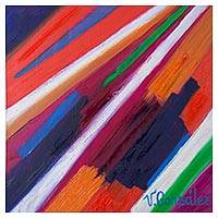 'Convergence' - Signed Abstract Painting with Oblique Lines from Peru