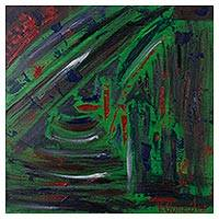 'Feelings' - Signed Abstract Painting in Green from Peru