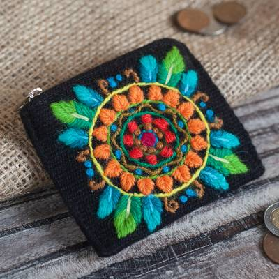 Alpaca blend coin purse, 'Colorful Mandala' - Floral Embroidered Alpaca Blend Coin Purse in Black
