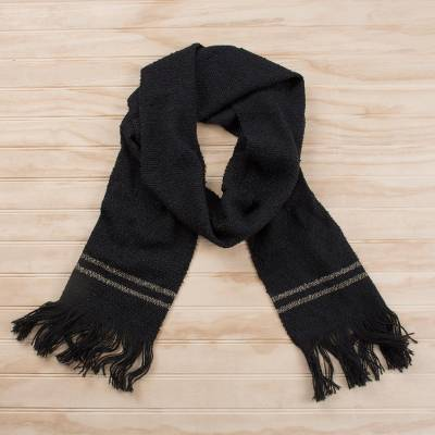 Alpaca blend scarf, 'Night Beauty' - Handwoven Alpaca Blend Wrap Scarf in Black from Peru