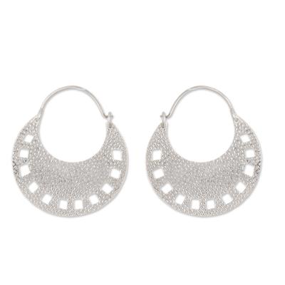 Modern Hoop Earrings with Openwork from Peru