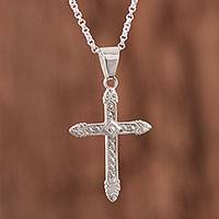 Sterling silver pendant necklace, 'Majestic Cross' - Dot Pattern Sterling Silver Cross Necklace from Peru