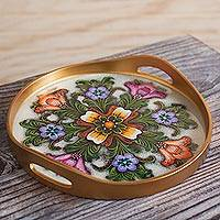 Reverse-painted glass tray,