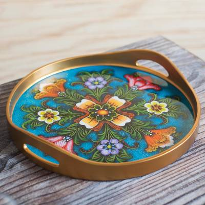 Reverse-painted glass tray, 'Tulip Beauty in Blue' - Tulip Motif Reverse-Painted Glass Tray in Blue from Peru