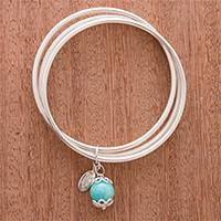 Amazonite bangle bracelet, 'Magic Rings' - Amazonite Bangle Bracelet from Peru