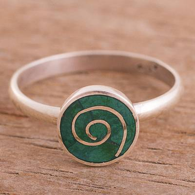 Chrysocolla cocktail ring, 'Andean Swirl' - Swirl Motif Chrysocolla Cocktail Ring from Peru