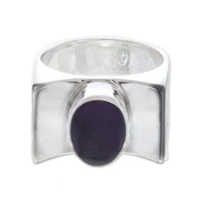 Oval Amethyst Modern Cocktail Ring from Peru