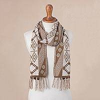 Alpaca blend scarf, 'Inca Inspiration' - Geometric Alpaca Blend Scarf in Ivory and Sepia from Peru