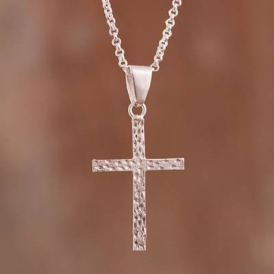 Sterling silver pendant necklace, 'Mystic Cross' - Textured Sterling Silver Cross Pendant Necklace from Peru
