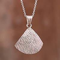 Sterling silver pendant necklace, 'Modern Shell' - Modern Sterling Silver Pendant Necklace from Peru