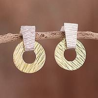 Gold accented sterling silver dangle earrings- 'Modern Gold' (Peru)