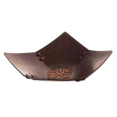 Cross Motif Leather Catchall from Peru