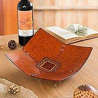 Leather catchall, 'Square Lasso' - Square Pattern Leather Catchall from Peru