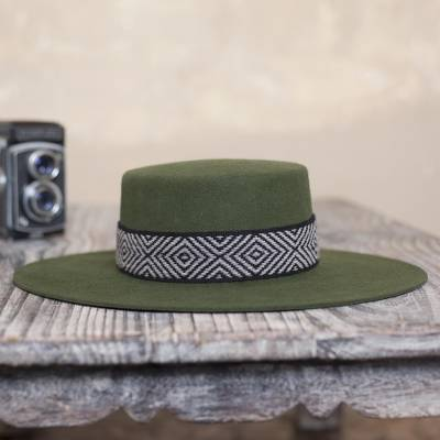Alpaca and wool blend felt hat, 'Nawi in Olive' - Alpaca and Wool Blend Felt Hat in Olive from Peru