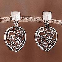 Sterling silver dangle earrings, 'Droplet Floral' - Openwork Floral Sterling Silver Dangle Earrings from Peru