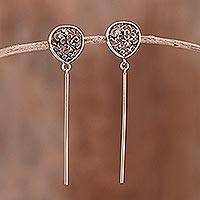 Sterling silver dangle earrings, 'Floral Bars' - Sterling Silver Dangle Earrings with Floral Openwork