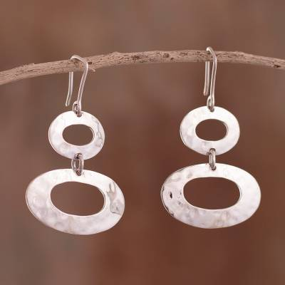 Sterling silver dangle earrings, 'Brilliant Modernity' - Oval-Shaped Sterling Silver Dangle Earrings from Peru