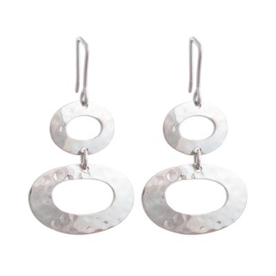 Oval-Shaped Sterling Silver Dangle Earrings from Peru