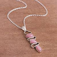 Opal pendant necklace, 'Pink Modernity' - Modern Pink Opal Pendant Necklace from Peru