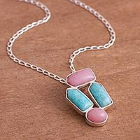 Opal and amazonite pendant necklace, 'Imperial Modernity' - Opal and Amazonite Pendant Necklace from Peru