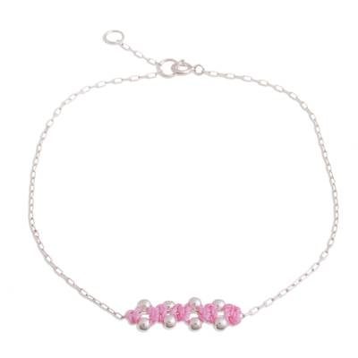 Sterling Silver Pendant Anklet in Blush from Peru