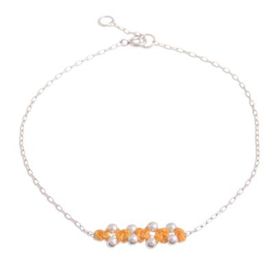 Sterling Silver Pendant Anklet in Ochre from Peru